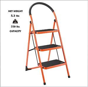 AIMCAE Escalera de 3 peldaños de Acero Resistente con Mango Deslizante y Pedal Ancho de Aluminio Escalera Seguro hogar Cocina Escalera Taburete, 330 Libras: Amazon.es: Hogar