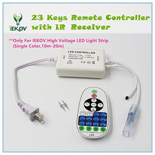 IEKOV™ Max 750W, AC 110V 120V TO DC 110V Power Supply Adapter with IR Receiver + 23 keys Remote Control only For IEKOV High Voltage LED Light Strip