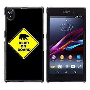 YOYOSHOP [Bear On Board Funny Sign] Sony Xperia Z1 L39h Case by Maris's Diary
