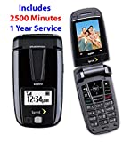 Prepaid Cell Phone - Sanyo Midnight Black Flip Cellular Phone With $100 Airtime 1 Year Service (Midnight Black)