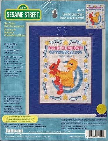 Sesame Street Counted Cross Stitch Star Gazer Birth Announcement (Sesame Street Cross Stitch)