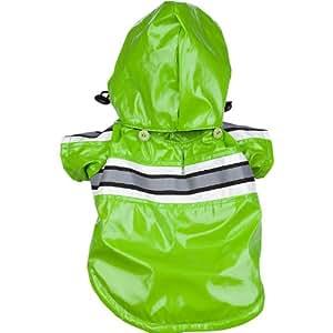 Reflecta-Glow Reflective Waterproof Adjustable Pvc Pet Raincoat, Medium, Green