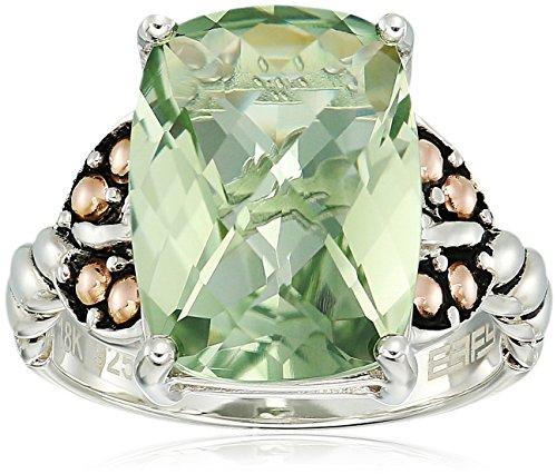 Ring Amethyst Gold Green (Effy Womens 925 Sterling Silver/18K Yellow Gold Green Amethyst Ring, 7)