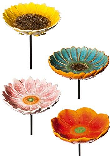 4 Piece Decorative Flower Garden Stake Set
