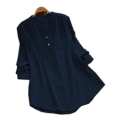 3aeafe834 GETHIS Plus Size Women Cotton Loose Casual Blouse Roll up Long Sleeve  Button Down Tops V