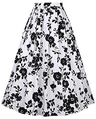 Belle Poque Women Vintage Print Pleated Maxi Skirt A Line Long Skirt