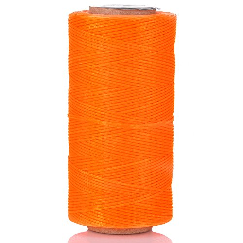 Selric [24 Colors Available] 210D 1mm 196Yards Flat Waxed Thread Hand Stitching Cord Leather Craft Tool Leather Stitching Sewing (Neon Orange)