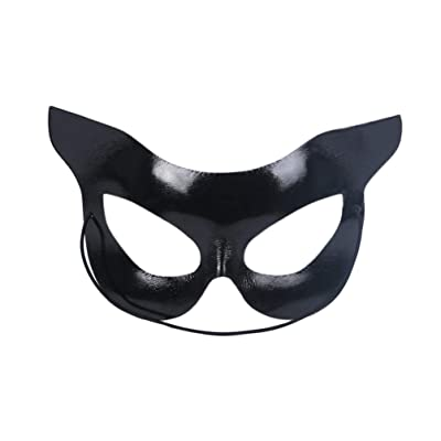 Holibanna Halloween Cat Mask Half Face Mask Catwoman Mask Halloween Party Costumes Black: Clothing