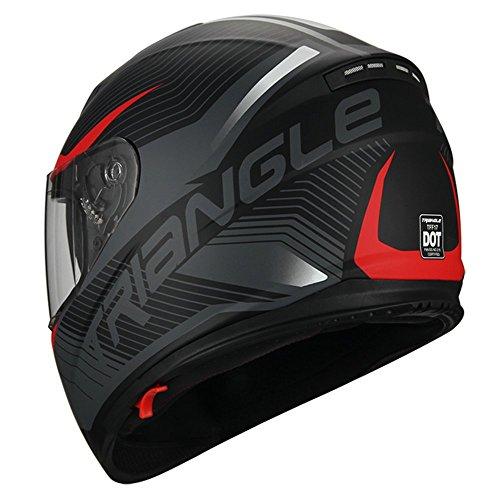 Triangle Full Face Dual Visor Matte Black Street Bike Motorcycle Helmet (Large, Matte Red)