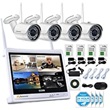 """Jennov 4 Channel CCTV Wireless WiFi IP Security Camera System 12"""" LCD HD Monitor 1080P NVR Kit 960P Bullet Cameras Home Outdoor Indoor Video Surveillance Mobile Phone Remote View (No Hard Drive)"""