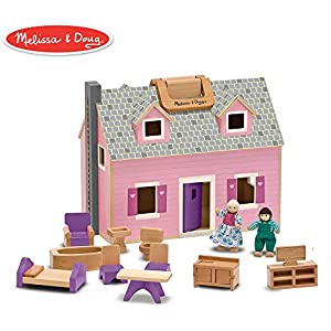 Melissa & Doug Wooden Dollhouse With 2 Dolls and Wooden Furniture