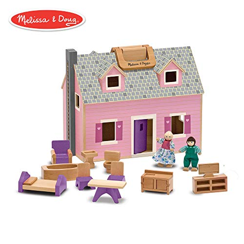 Melissa & Doug Fold & Go Mini Dollhouse (Portable Wooden Dollhouse, Working Doors, Sturdy Carrying Handles, 10.4