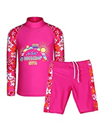 HUANQIUE Girls Two Piece Tankini Swimsuit HotPink 9-10 Years