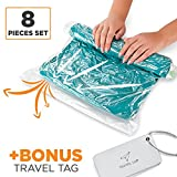8 Travel Storage Bags for Clothes -  Space Saver   No Vacuum or Pump Needed - Roll-Up Compression Bags for Travel, Home   4 Large and 4 Medium - Plus Luggage Tags