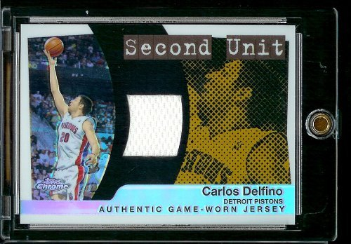 (2005-06 Topps Chrome Refractor Second Unit #Carlos Delfino Jersey Detroit Pistons Basketball Card - Mint Condition)