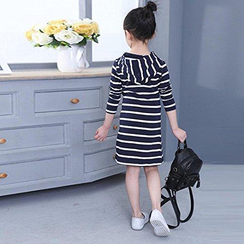 Omiky® Kinder Mädchen Herbst Hooded Langarm Casual Kleidung Striped Pack Kleider Marine