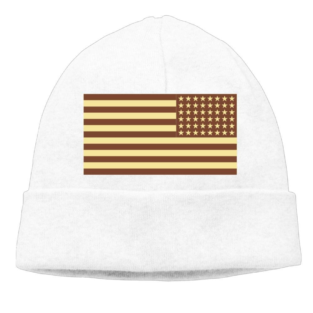 Aiw Wfdnn Brown US Flag Beanie Hat Knit Cap Mens