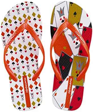 594cff14d5e6 Hotmarzz Women s Totem Animal Puzzle Poker Prints Flip Flops Beach Slippers  Summer Thong Sandals