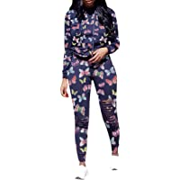 KOKAY Women 2 Piece Tracksuit Outfits Sweat Suits, Casual Ripped Hole Long Sleeve Pullover Hoodies Sweatshirt Jogger…