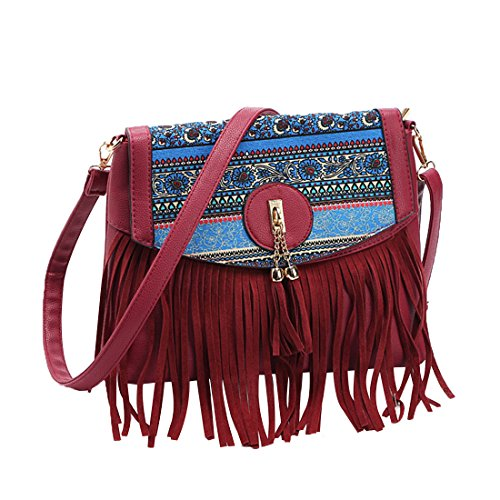 Rouge Bandoulière Femme Sacs Frange Cuir Gwell Pu Sac Vintage Main À vpqxx5