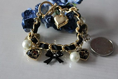 Flamboyantgoods NEW Betsey Johnson Women Pearl Leopard Heart Crystal Weave Bracelets BJBR009 - Leopard Heart Crystal