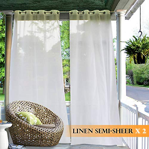 RYB HOME White Sheer Outdoor Curtains, Privacy Linen Look Sime-Sheer (Free 2 Tiebacks, White, W 54