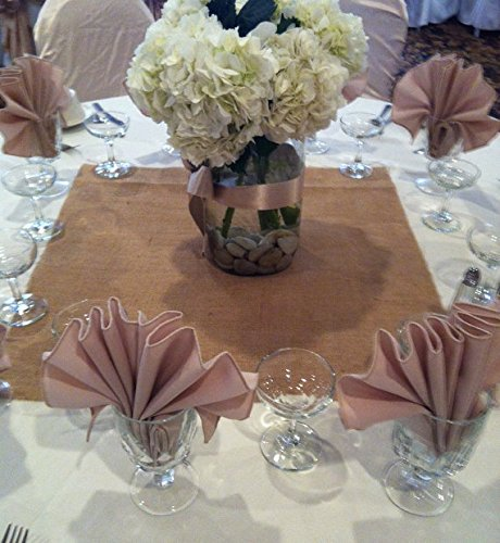 Burlap Table Runner 18 x 18 Squares Wedding Holiday Birthday Table Décor