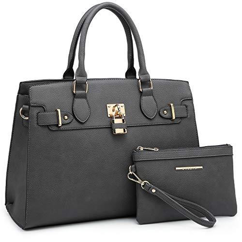 Women Handbags Designer Shoulder Bags Top Handle Satchel Tote Purse for Ladies with Wallet (23- Grey)