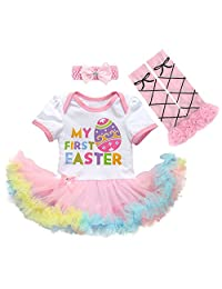 Newborn Baby Girl 1st Easter Romper Tutu Dress+Headband+Leg Warmers Shoes Outfits
