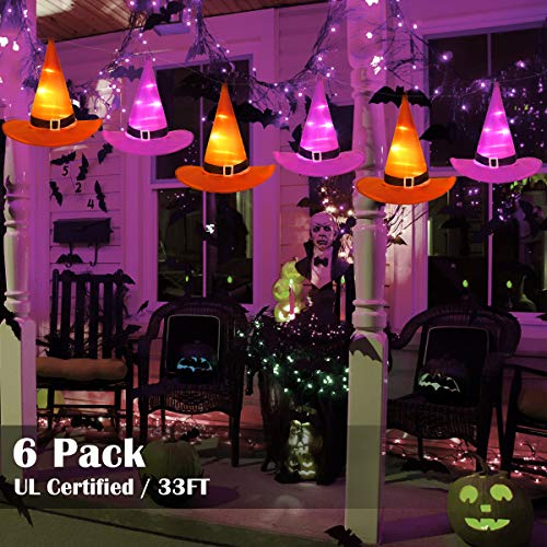 Halloween Decorations Witches Outdoor (YUNLIGHTS Halloween Decorations 6Pcs Witchs Hat Decor Light 33ft String Lights for Indoor,Outdoor,Garden, Trees, Party)