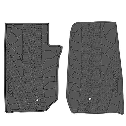 San Auto Car Floor Mat for Jeep Wrangler 2 Door 2014-2015-2016-2017,2 Pieces Custom Fit Full Black,Rubber Auto Floor Liner Mat All Weather Heavy Duty & Odorless (Mats Car Floor Decorative)