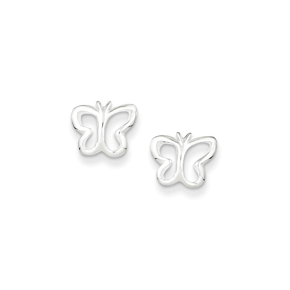 .925 Sterling Silver 9 MM Children's Butterfly Mini Post Stud Earrings