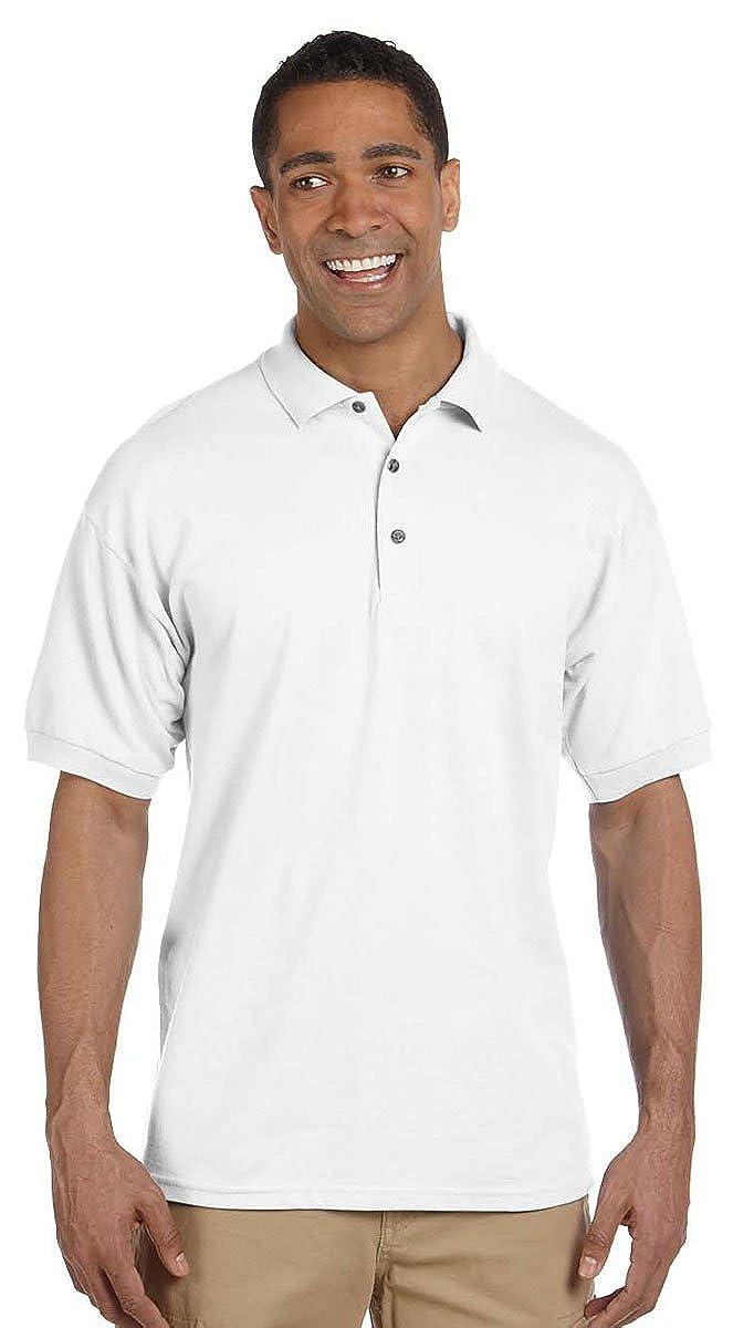 Large. White Pack of 10 Gildan Mens Welt Collar Pique Polo Shirt