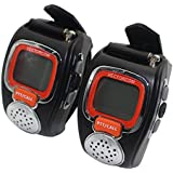Portable Digital Wrist Watch Walkie Talkie Two-Way Radio for Outdoor Sport Hiking, 462MHZ, black, 2pcs