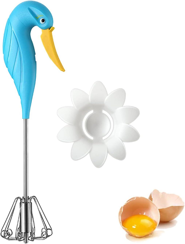 Stainless Steel Rotary Whisk,Swan Shape Hand Push Whisk Blender,Non-Electric Household Silent Blender for Beater,Milk Frother,Kitchen Utensil Stirrer for Eggs, Milk, Cream, Bread and Cake (BLUE)
