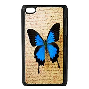 Yo-Lin case FXYL248340Pink blue butterfly protective case cover FOR IPod Touch 4th