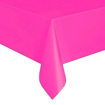 Beau Unique Party 99133   Neon Pink Plastic Tablecloth, 9ft X 4.5ft