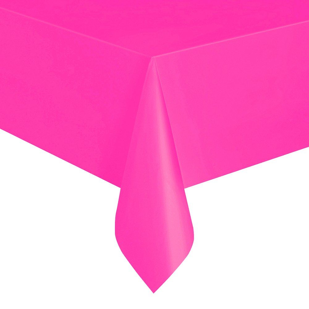Neon Pink Plastic Tablecloth, 108'' x 54''