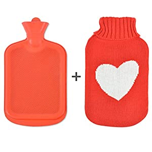 I LOVE YOU Sweater Hot Water Bottle: Premium Rubber with Knit Cover - Back Pain Relief & Cold Feet Syndrome – Warm Up To 10 Hours (Red w/ White Heart)