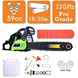 59CC 20'' Petrol Chainsaw 3.4 HP Gas Powered Woodcutting Saw 2 Stroke, Carry Bag, 23pc Tool Kit