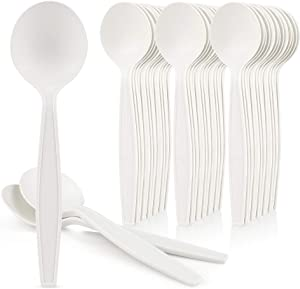 "[50 Pack] HeloGreen Eco-Friendly Cornstarch 6"" Disposable Soup Spoons: Heavyweight Heavy Duty Elegant Alternative to Plastic Spoons, Plasticware Utensils Cutlery, Ivory"