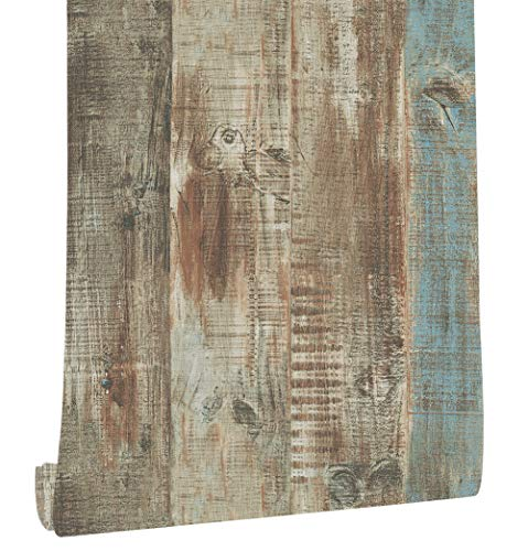 HaokHome 8032 Vintage Woods Panel Wallpaper Rolls Blue/Brown Trees Vinyl Kitchen Wall Paper Murals Barnwood Home Decoration 20.8