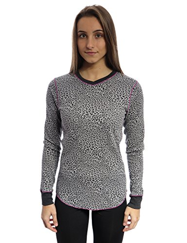 Cuddl Duds Women's Thermal Crew Neck Top (Large, Cheetah Grey) (Cuddl Long Womens Underwear Duds)