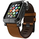 LUNATIK EPIK Aluminum Case and Leather Strap for Apple Watch Series 1, Black/Brown