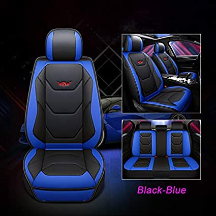 Universal Fit 5 Seats Car Seat Protectors PU Leather Color : Blue Front and Rear Car Seat Covers for Sedan SUV