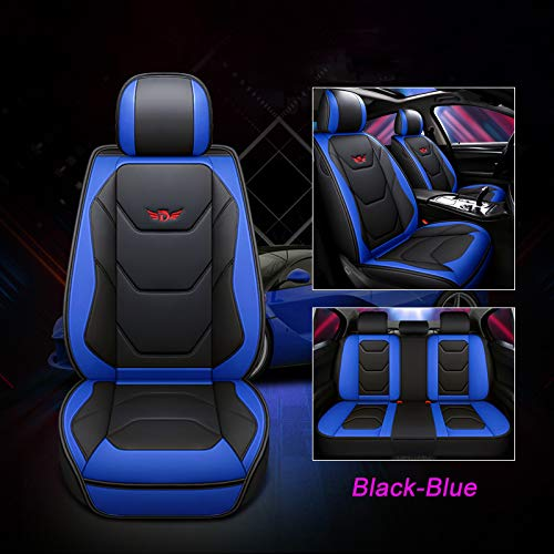 JOJOHON Luxury PU Leather Auto Car Seat Covers 5 Seats Full Set Universal Fit (Black-Blue) ()