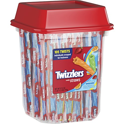 TWIZZLERS Licorice Candy, Rainbow Straws, 105 Count, 27.5 Ounce -