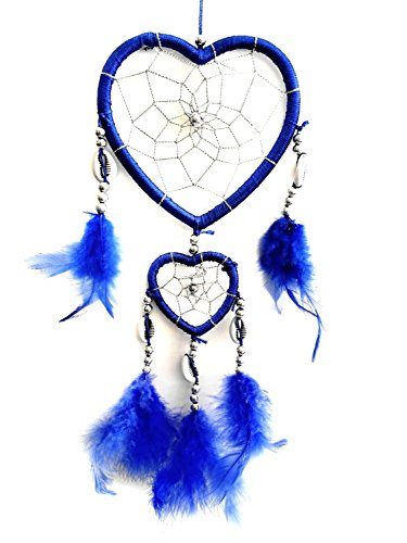 Handmade Heart-shaped Dream Catcher (With a Betterdecor Gift Bag) (blue)