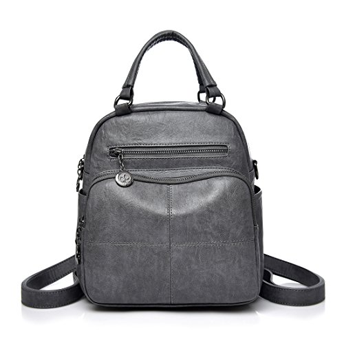 College Backpack For Purse Leather Women Fashion Alovhad Shoulder Gray Bags Handbags School pqvwF5