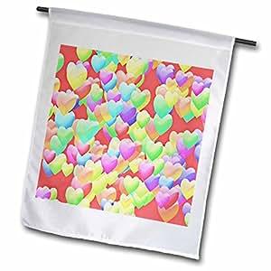 Lee Hiller Designs Holidays Valentines Day - Valentines Days Puffy Rainbow Hearts on Red - 18 x 27 inch Garden Flag (fl_44390_2)